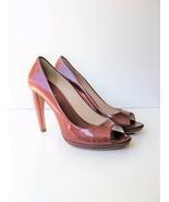 Leather Pumps HeelsPrada Peep Toe Curved Heel Patent Leather Shoe 39.5 9... - $156.42