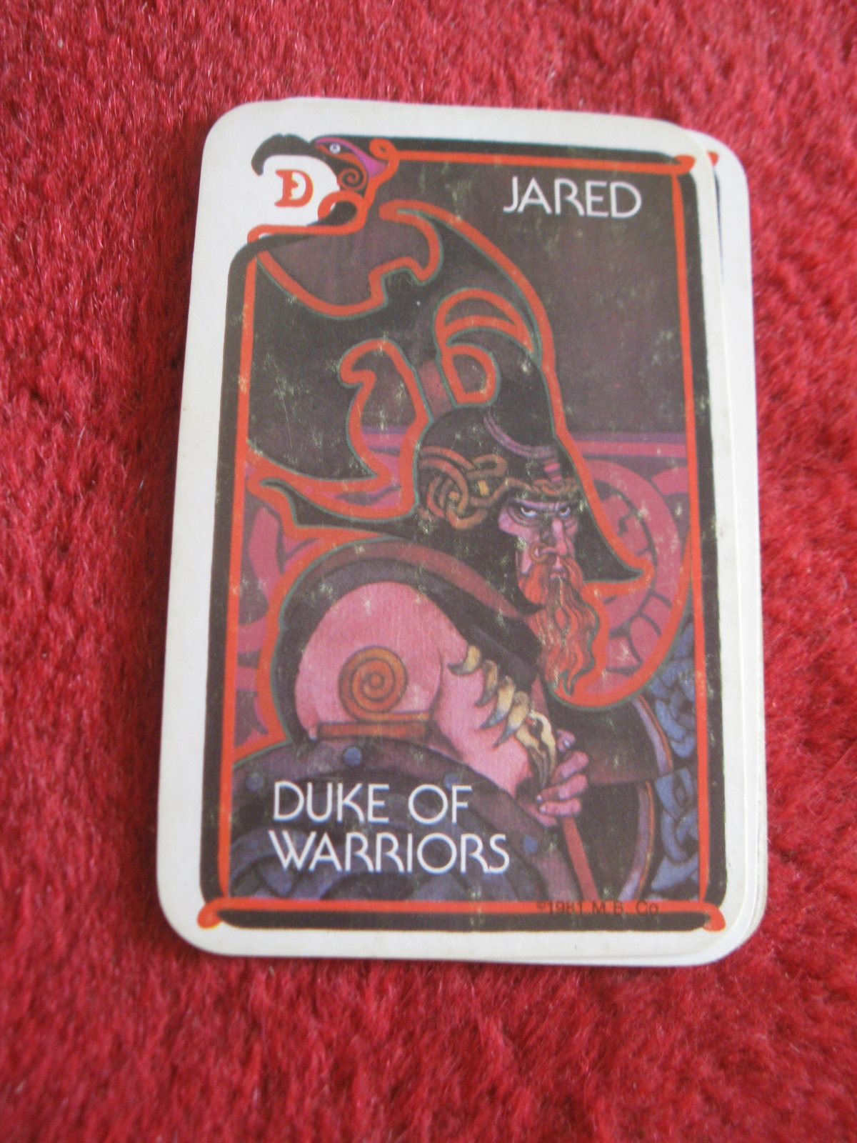 Primary image for 1981 DragonMaster Board game playing card: Jared, Duke of Warriors