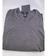 Alfani Men's Gray Heather Polyester Spandex V Neck Long Sleeve Sweater S... - $16.88