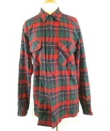 Pendleton Mens L Button Front Red And Green Plaid100% Virgin Wool Long L... - $27.89