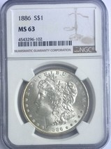 1886 P Morgan Dollar NGC MS 63 Light Rim Tone Fully Frosted coin Nice fo... - $72.76