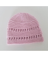 Pink lacy baby beanie in soft merino wool,  3-9 months, baby shower gift... - $11.00