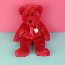 Ty Beanie Buddie Plush Valentina Valentine Bear Magenta Ribbon Heart Stu... - $16.83