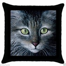 Throw Pillow Case Cushion Cover Cat 478 Grey Gray art painting by L.Dumas - $20.99