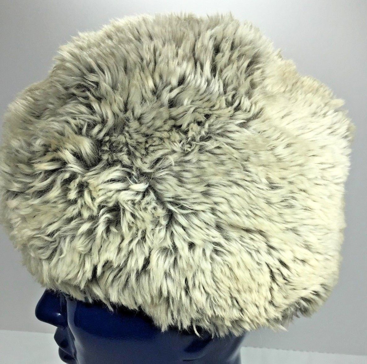 Primary image for Vintage Real Fur Hat Very Plush Gray And Soft Gold Satin Lined