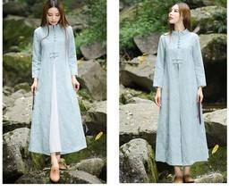Spring Female Cotton Linen Dresses Long Floor Length Dress Traditional C... - $70.08