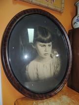Antique Oval Wood Picture Frame Convex Bubble Glass 18u0026quot;x15u0026quot; ...