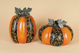 Lynn Roberts 2 Harvest Orange Black Floral Thanksgiving Pumpkin Table De... - $53.20