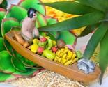 Vintage Folk Art Latin American Pottery Vendor Dugout Canoe Fruits