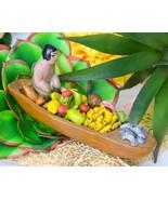 Vintage Folk Art Latin American Pottery Vendor Dugout Canoe Fruits  - $17.95