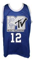 Vlade Divac #12 Rock n'Jock Basketball Jersey Sewn Blue Any Size image 4