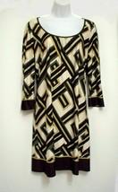 Ann Taylor Loft Dress Sz 6 Beige Brown Artsy Geometric Print Dressy Shea... - $24.95