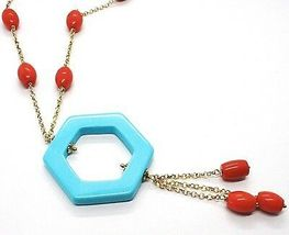Necklace Silver 925 Yellow, Red Coral Oval, Hexagon Turquoise Pendant image 3