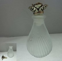 Frosted Swirled Glass Perfume Bottle with Silver Tone Metal Rose Stopper - $12.43