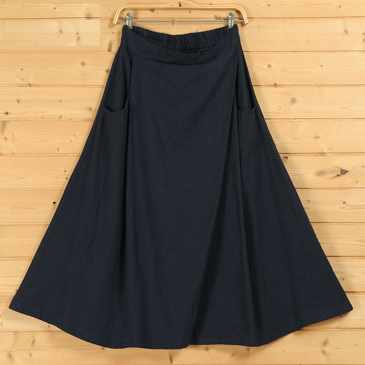 Wrap skirt linen navy 7  1