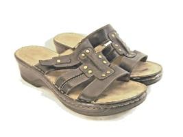 Naturalizer women sandals soft sole size 8 leather upper black hook & loop  XK10 - $17.77