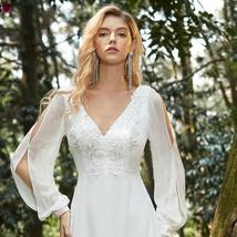 Elegant V Neck Long Sleeve Appliques Lace Chiffon Bridal Gown image 5