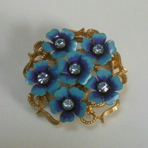 Vintage Avon Blue/Purple Rhinestone Flower Brooch/Pendant - $18.80