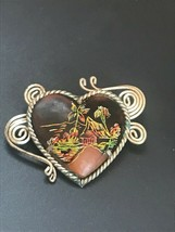 Vintage Southeast Asian Etched Heart in Silver Colored Metal Spiral Fram... - $19.49