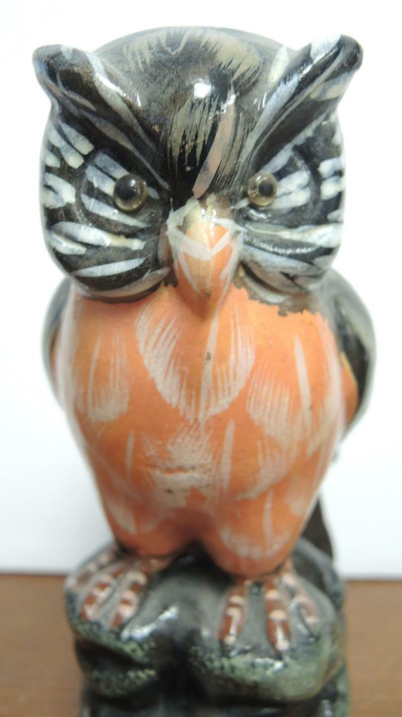 Pair of Vintage Black White Brown Orange Porcelain Owls