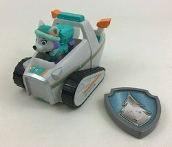 Paw Patrol Everest Snowmobile Figure and Badge Toys 3pc Lot Spin Master Rescue - $25.79