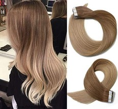 Tape In Hair Extensions Human Hair Ombre Hair 20pcs/50g Per Set Golden Brown Fad