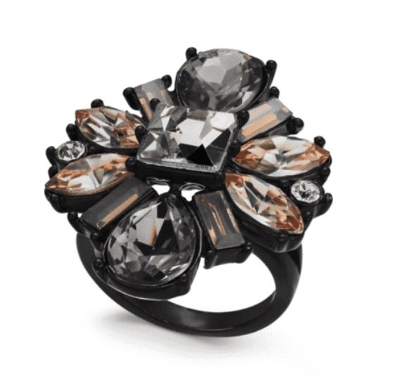 I.N.C. International Concepts Black Multi-Crystal Flower Statement Cocktail Ring