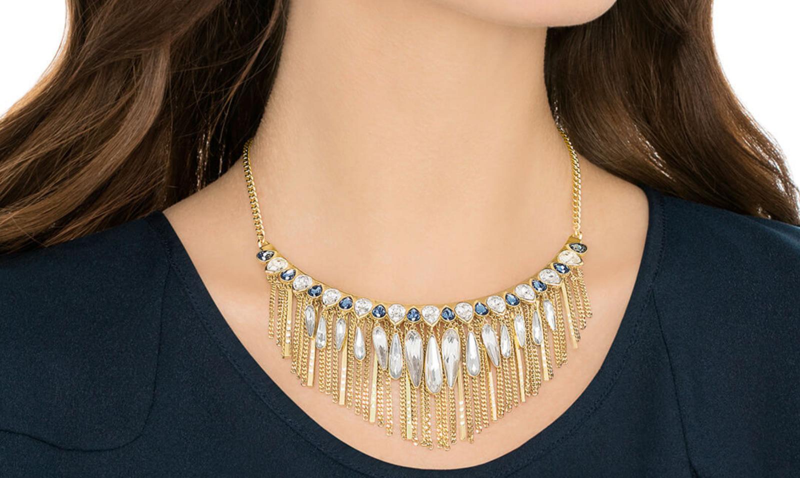 Swarovski Crystal GIPSY Gold Fringe Multi Boho Necklace Authentic Stamped 526059