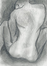 ORIGINAL male nude homoerotic gay art drawing charcoal adult mature NSFW... - $50.00