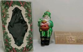 Old World Christmas Leprechaun Santa Glass Tree Ornament Pot o' Gold Clover - $19.79