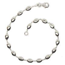 Bracelet White Gold 18K 750, Bean of Rice, Ovals Pantry, Polished, 19.5 CM image 3
