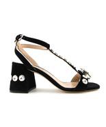 New MIU MIU Size 6 Black Crystal T-Strap Block Heel Pumps Shoes 36 Eur P... - $359.00