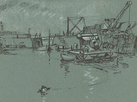 Malcolm Rogers - 1966 Pen and Ink Drawing, Harbourside Study - $40.54