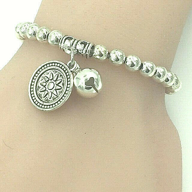 Primary image for Beaded Bracelet with Sun and Bell Charms Tibetan Silver NEW