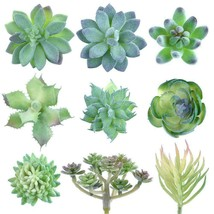 KUUQA 9 Pack Artificial Succulent Plants Green Unpotted Faux Flower... - $21.38