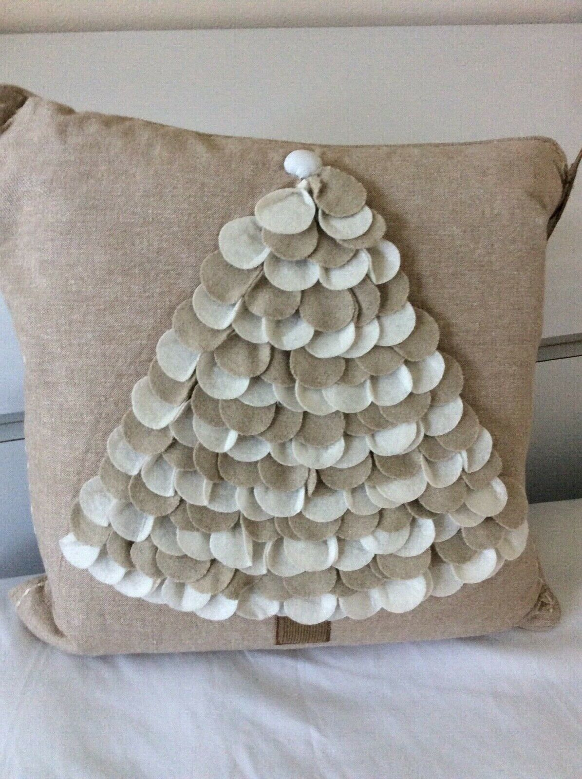 Primary image for Christmas Decorative Pillow,Handcrafted . Hand Stitched Border. Christmas Tree D