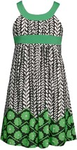 Bonnie Jean Little Girl 4-6X Green U-neck Floral Print Knit Sheath Dress