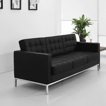 Hercules Lacey Series Contemporary Black LeatherSoft Sofa w/Stainless St... - $1,421.74