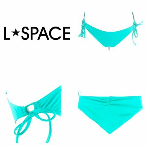 L Space Ella Side Tie Back Ruched Bikini Bottoms Hipster Womens Blue Green XS