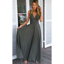 Dark Gray Sexy Women Convertible Wrap Maxi Dress - $39.95
