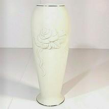Vintage Lenox China Rose Bud Vase - Ivory/Cream Color with Gold Trim 7.5... - $13.45