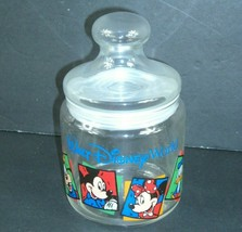 Vintage Walt Disney World Glass Candy Jar w Lid Mickey Minnie Goofy Donald  - $19.79