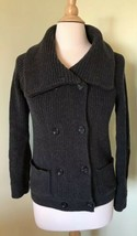 Gap Women's XS Gray Cardigan Sweater Wool Cotton Pockets Cowl Foldover Collar - $18.47