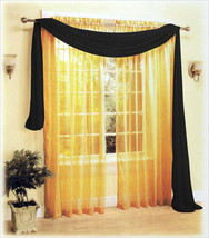 """New Beautiful Sexy Sheer Voile Window Scarf Black 60""""x216"""" - $13.99"""
