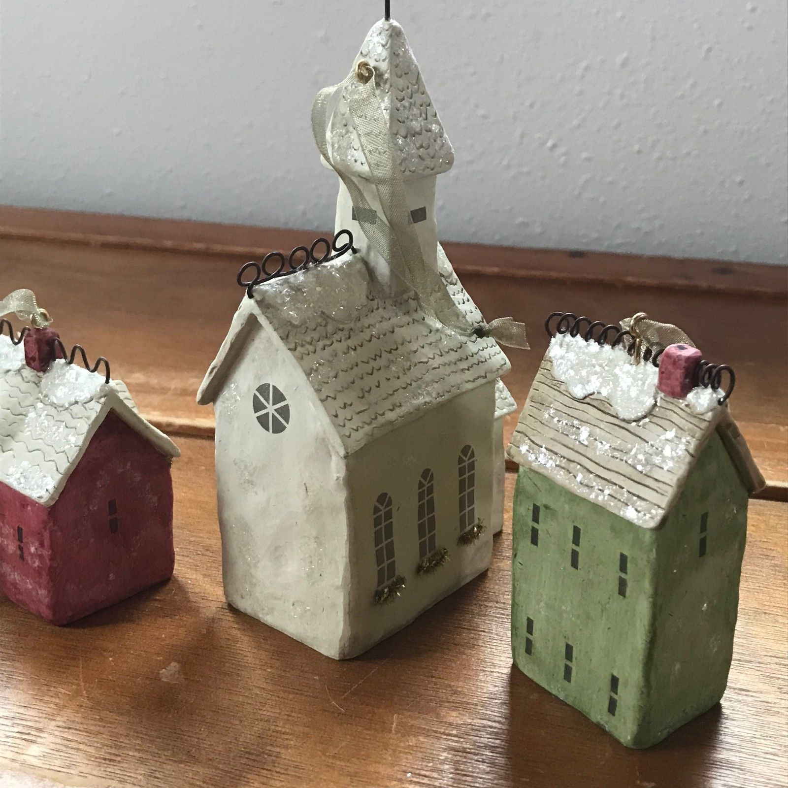 Estate Lot of 3 Hallmark White Church & Red & Green Houses Christmas Tre