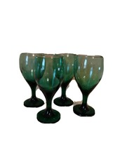 """LIBBEY wine glasses green/gold trim 7"""" Teardrop set of 4 Holiday Christmas - $39.99"""