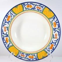 "Mikasa Windsor Park Rimmed Soup Bowl CA014 White Orange Fruit 9-3/8"" - $17.82"