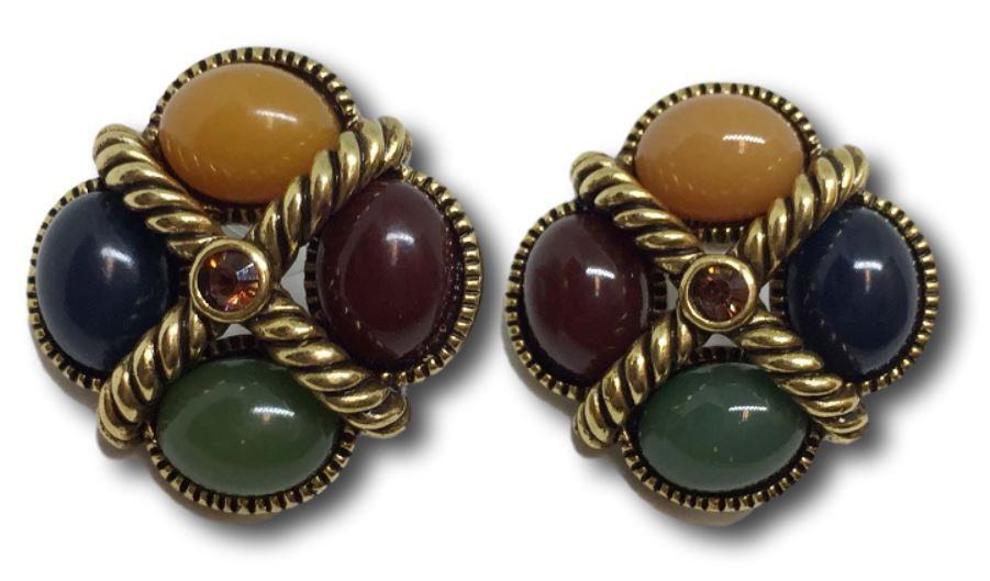 Joan Rivers Earrings Cabochon Stones w/ Amber Topaz Rhinestone Rope Design Pair
