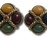 Joan Rivers Earrings Cabochon Stones w/ Amber Topaz Rhinestone Rope Design Pair