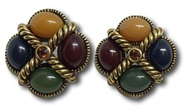 Joan Rivers Earrings Cabochon Stones w/ Amber Topaz Rhinestone Rope Desi... - $48.50